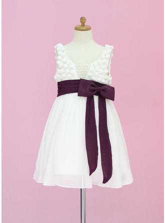 A-Line/Princess Scoop Neck Tea-length With Sash/Beading/Bow(s) Chiffon/Tulle Flower Girl Dress