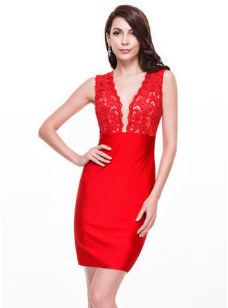 Sheath/Column V-neck Lace Jersey Sleeveless Short/Mini Beading Sequins Cocktail Dresses