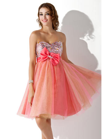 Empire Beading Bow(s) Tulle Homecoming Dresses Sweetheart Sleeveless Knee-Length