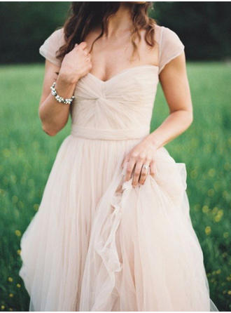 A-Line/Princess Sweetheart Sweep Train Wedding Dress With Ruffle