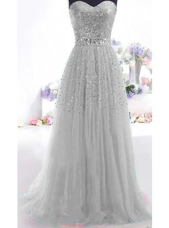 Floor-Length Beading Sequins Tulle A-Line/Princess Evening Dresses
