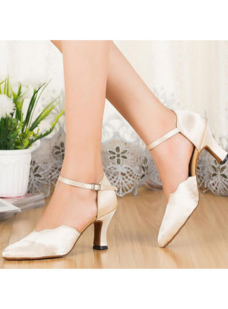 Women's Ballroom Sandals Silk With Ankle Strap Dance Shoes
