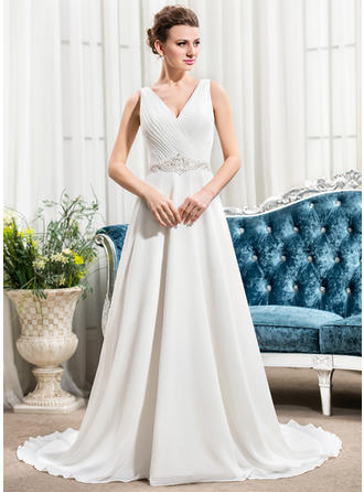 Sexy Court Train A-Line/Princess Wedding Dresses Sweetheart Chiffon Sleeveless (002210581)