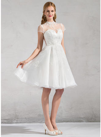 Fashion Knee-Length A-Line/Princess Wedding Dresses High Neck Organza Short Sleeves