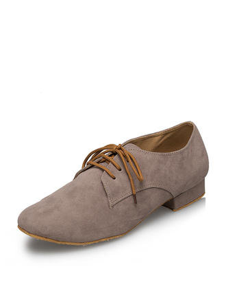 Men's Ballroom Flats Suede With Lace-up Dance Shoes