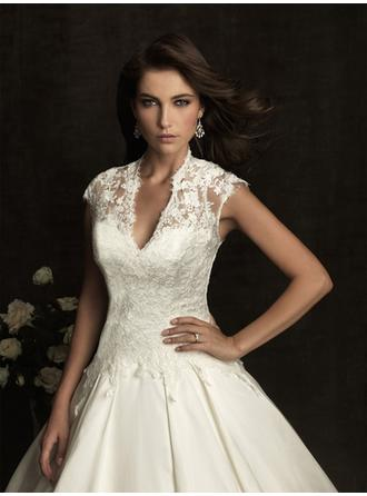 Ball-Gown V-neck Cathedral Train Wedding Dresses With Lace Bow(s)