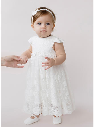 Lace Scoop Neck Beading Baby Girl's Christening Gowns With Short Sleeves