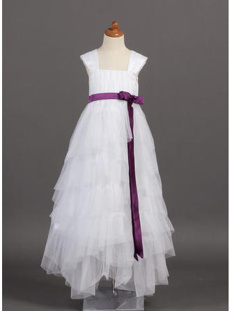 A-Line/Princess Square Neckline Floor-length With Ruffles/Sash/Bow(s) Tulle/Charmeuse Flower Girl Dress
