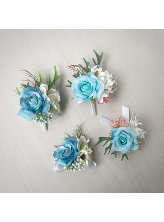 "Wrist Corsage/Boutonniere Free-Form Wedding Silk linen 3.54""(Approx.9cm) Wedding Flowers"