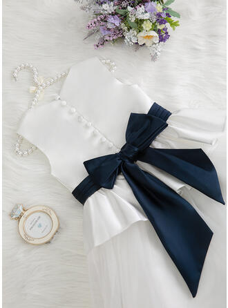 Ball-Gown/Princess Floor-length Flower Girl Dress - Satin/Tulle Sleeveless Scoop Neck With Ruffles/Pleated (Undetachable sash)