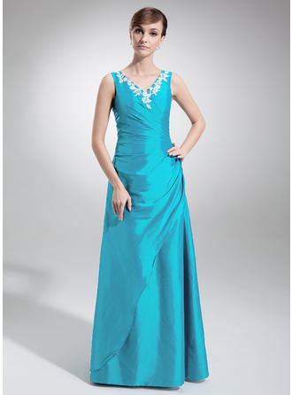 Taffeta Sleeveless A-Line/Princess Bridesmaid Dresses V-neck Ruffle Appliques Lace Floor-Length