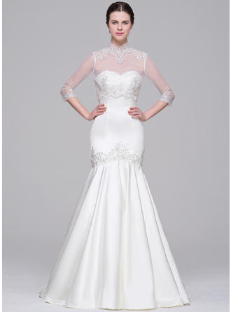 Court Train Trumpet/Mermaid Satin Flattering Wedding Dresses Sleeveless
