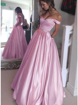 Satin Sleeveless A-Line/Princess Prom Dresses Off-the-Shoulder Beading Floor-Length