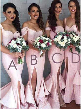 Trumpet/Mermaid Sequined Bridesmaid Dresses Split Front Sweetheart Off-the-Shoulder Sleeveless Sweep Train