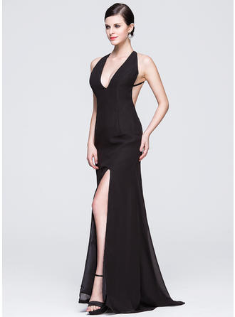 Sheath/Column V-neck Sweep Train Evening Dress With Split Front