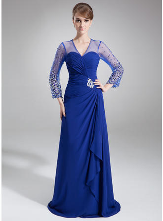 A-Line/Princess Chiffon 3/4 Sleeves V-neck Court Train Zipper Up Mother of the Bride Dresses