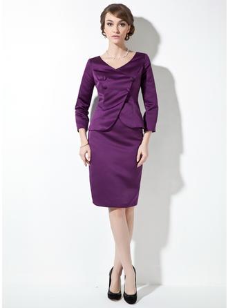 Etui-Linie V-Ausschnitt Satin Lange Ärmel Knielang Kleider für die Brautmutter (008211235)