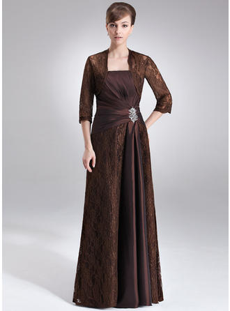 Luxurious Floor-Length Sheath/Column Taffeta Lace Mother of the Bride Dresses