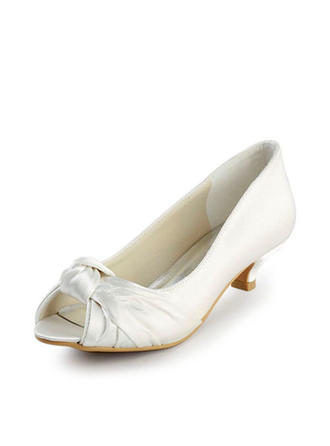 Women's Peep Toe Sandals Low Heel Satin With Bowknot Wedding Shoes