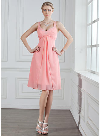 Chiffon Sleeveless A-Line/Princess Bridesmaid Dresses Sweetheart Ruffle Beading Knee-Length