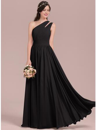 A-Line/Princess One-Shoulder Floor-Length Chiffon Evening Dress With Ruffle