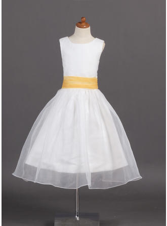 A-Line/Princess Scoop Neck Tea-length With Sash Organza/Satin Flower Girl Dress