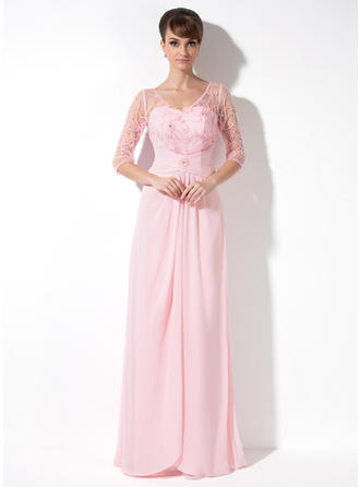 A-Line/Princess V-neck Chiffon 3/4 Sleeves Floor-Length Ruffle Beading Sequins Mother of the Bride Dresses