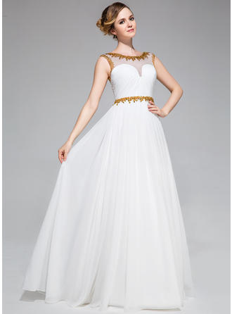 Chiffon Sleeveless A-Line/Princess Prom Dresses Scoop Neck Ruffle Beading Sequins Floor-Length