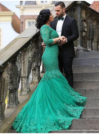 Tulle 3/4 Sleeves Trumpet/Mermaid Prom Dresses V-neck Appliques Lace Sweep Train
