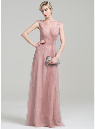 A-Line/Princess Tulle Lace Sleeveless V-neck Floor-Length Zipper Up Mother of the Bride Dresses