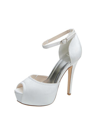 Women's Peep Toe Pumps Sandals Stiletto Heel Satin With Buckle Wedding Shoes