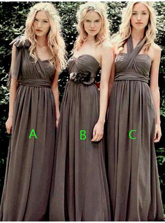 A-Line/Princess Chiffon Bridesmaid Dresses Ruffle Sweetheart One-Shoulder Halter Sleeveless Floor-Length