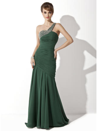 Chiffon Sleeveless Mother of the Bride Dresses One-Shoulder Trumpet/Mermaid Ruffle Beading Sweep Train (008211100)
