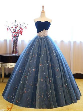 Ball-Gown Tulle Prom Dresses Princess Floor-Length Sweetheart Sleeveless (018218647)