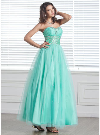 A-Line/Princess Sweetheart Ankle-Length Tulle Prom Dress With Beading