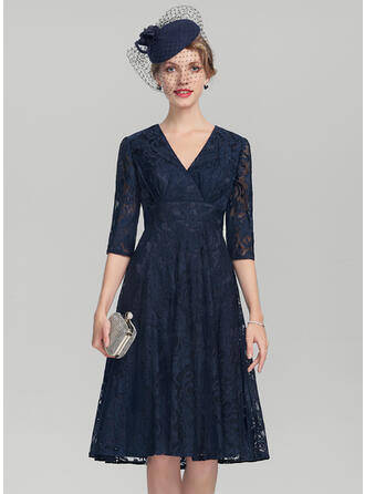 A-Line V-neck Knee-Length Lace Mother of the Bride Dress