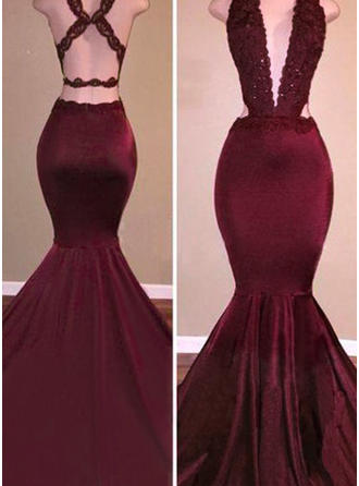 Trumpet/Mermaid V-neck Satin Sleeveless Sweep Train Beading Evening Dresses