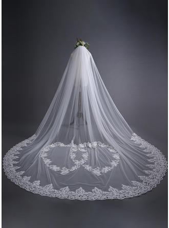 Cathedral Bridal Veils Tulle One-tier Classic With Lace Applique Edge Wedding Veils