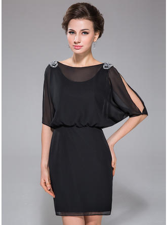 1/2 Sleeves Scoop Neck Simple Chiffon Sheath/Column Cocktail Dresses