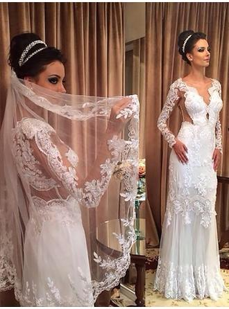 Sheath/Column V-neck Sweep Train Wedding Dress With Lace Beading Appliques Lace