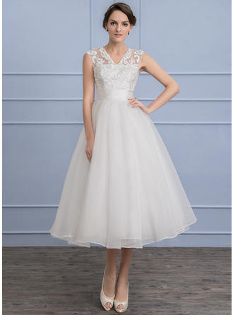 Organza Lace A-Line/Princess With Delicate General Plus Wedding Dresses