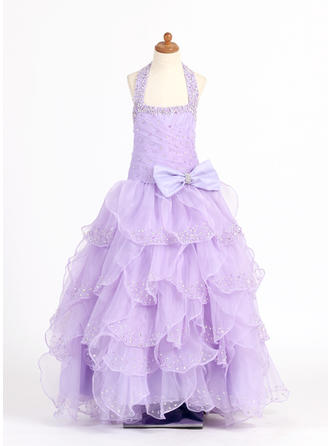 Ball Gown Scoop Neck Floor-length With Ruffles/Beading/Sequins/Bow(s) Organza/Charmeuse Flower Girl Dress