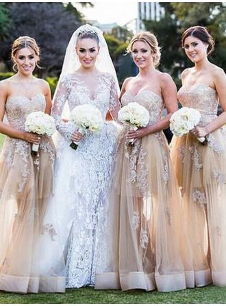 Tulle Sleeveless A-Line/Princess Bridesmaid Dresses Sweetheart Appliques Lace Floor-Length