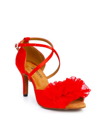 Latin Heels Sandals Satin With Buckle Hollow-out Flower Dance Shoes