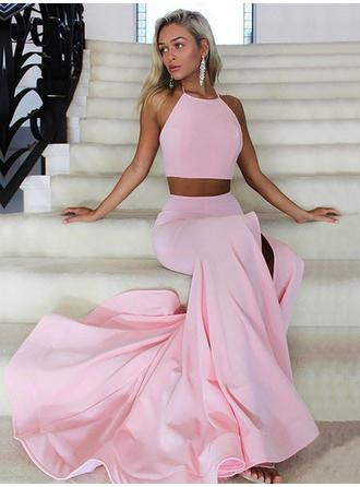 Elegant Satin Evening Dresses A-Line/Princess Sweep Train Halter Sleeveless