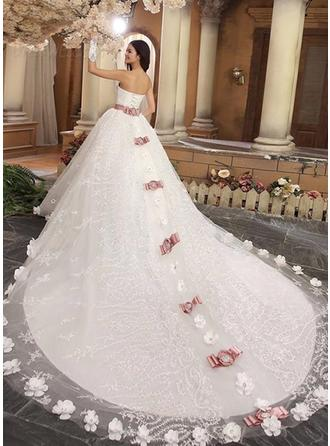 Ball-Gown Sweetheart Royal Train Wedding Dress With Sash Beading Flower(s) Bow(s)