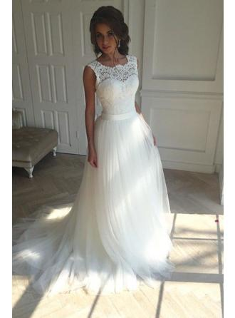 A-Line/Princess Square Court Train Wedding Dress With Sash