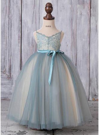 A-Line/Princess V-neck Ankle-length With Sash Tulle Flower Girl Dresses