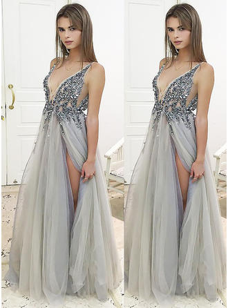 Sleeveless A-Line/Princess Tulle Beading Sequins Split Front Prom Dresses