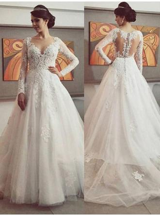 Beautiful Court Train Chapel Train Ball-Gown Wedding Dresses Scoop Tulle Long Sleeves